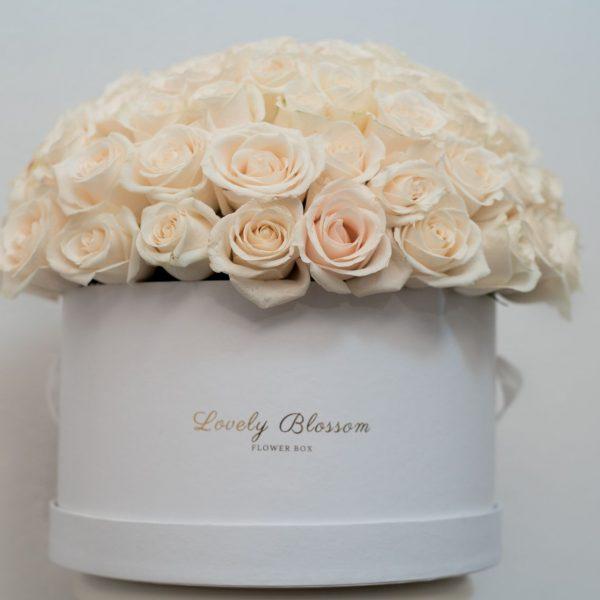 Bijele ruže u bijeloj okrugloj kutiji