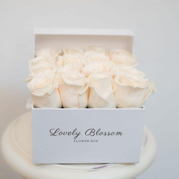 Bijele ruže u bijeloj kockastoj kutiji