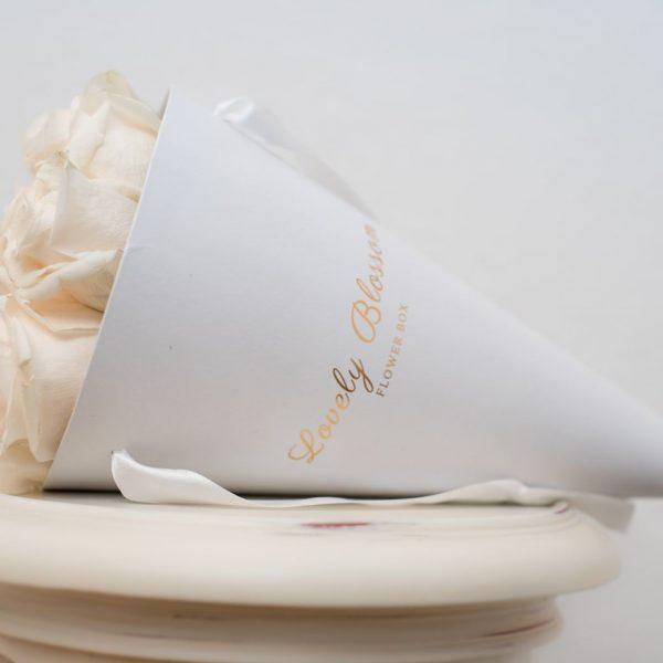 Bijele ruže u bijeloj stozac kutiji