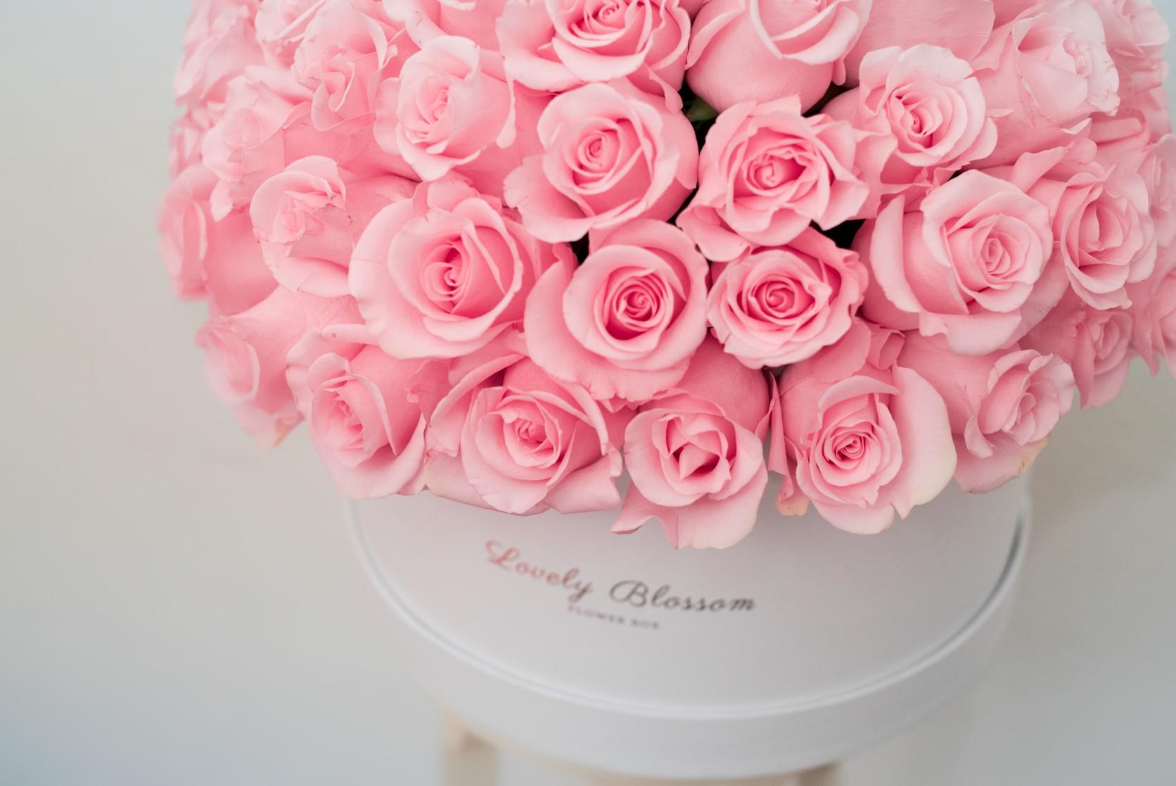 Roze ruže u bijeloj okrugloj kutiji